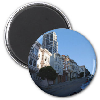 Houses on a street in San Francisco, California 2 Inch Round Magnet