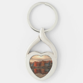 houses Silver-Colored Heart-Shaped metal keychain