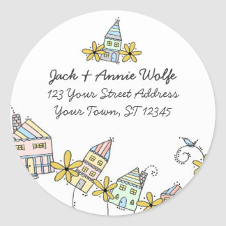 Houses Return Address Labels Stickers