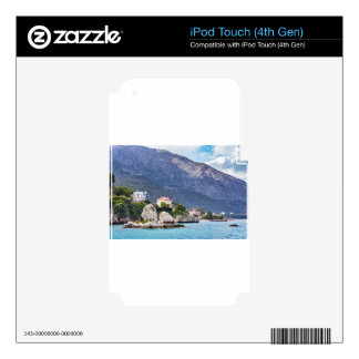 Houses rocks and mountain at greek sea iPod touch 4G skins
