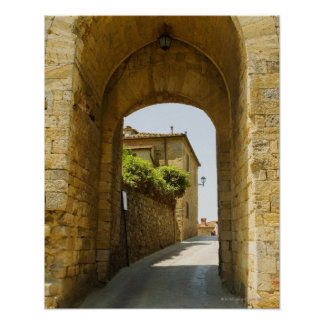 Houses viewed through an archway, Porta Franca, Poster