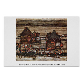 Houses With Clotheslines Or Suburb By Schiele Egon Poster