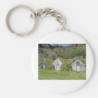 Houses with grass roof keychain