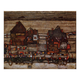 Houses with Laundry by Egon Schiele Print
