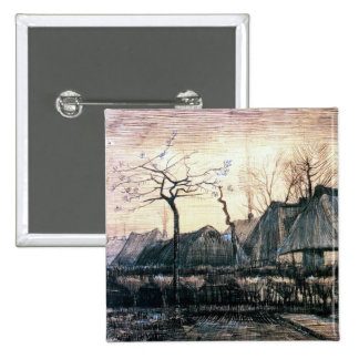 Houses with Thatched Roofs by Vincent Van Gogh Buttons
