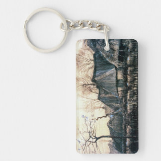 Houses with Thatched Roofs by Vincent Van Gogh Double-Sided Rectangular Acrylic Keychain