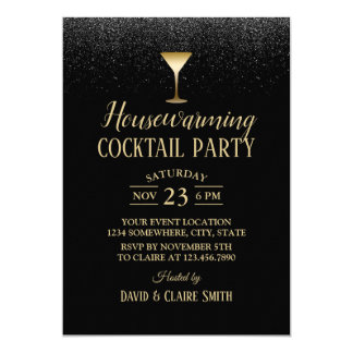 Housewarming Cocktail Party Elegant Black Glitter Card