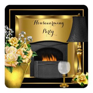 Housewarming Gold Roses Decor Wine Glass Black 5.25x5.25 Square Paper Invitation Card