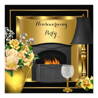 Housewarming Gold Roses Decor Wine Glass Black Invitation