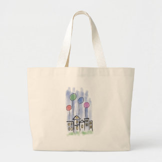 Housewarming Greeting - Balloons, house, party Large Tote Bag