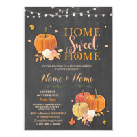 Housewarming Home Sweet Chalk Fall Pumpkin Invite