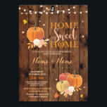 """Housewarming Home Sweet Home Fall Pumpkin Invite<br><div class=""""desc"""">Fall Home Sweet Home party invite. Perfect for a Housewarming,  House Party,  House Announcement,  BBQ etc. Simply change the text to suit your party.</div>"""