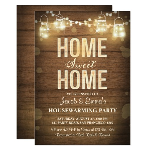 Housewarming invitation Home Sweet Home Rustic