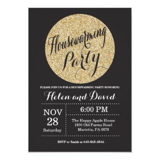 Housewarming Party Black Gold Glitter Invitation