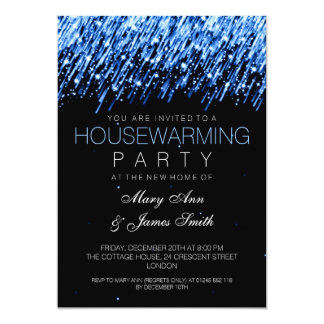 Housewarming Party Blue Falling Stars 5x7 Paper Invitation Card