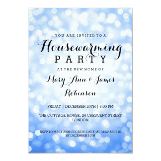 Housewarming Party Blue Glitter Lights 5x7 Paper Invitation Card