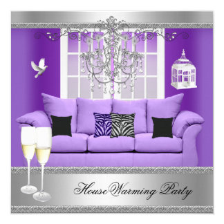 HouseWarming Party Champagne Chandelier Sofa 5.25x5.25 Square Paper Invitation Card