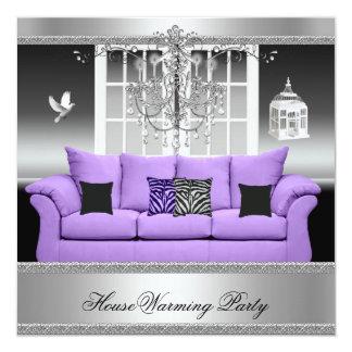 "HouseWarming Party Chandelier Purple Silver White 5.25"" Square Invitation Card"