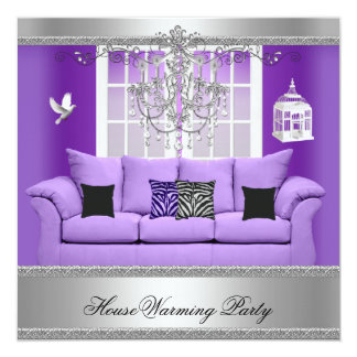 "HouseWarming Party Chandelier Purple Sofa Silver 5.25"" Square Invitation Card"