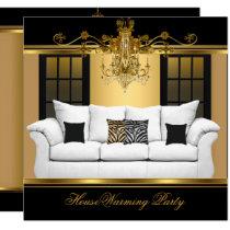 HouseWarming Party Chandelier Rich Gold Black Invitation