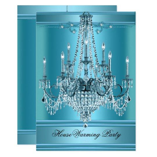 Housewarming party chandelier rich teal blue invitation zazzle housewarming party chandelier rich teal blue invitation aloadofball Choice Image