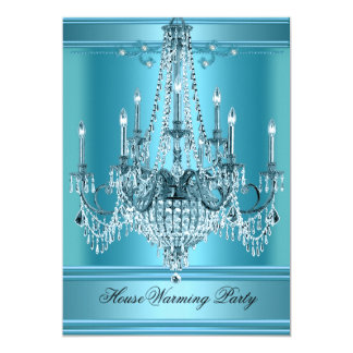 HouseWarming Party Chandelier Rich Teal Blue 5x7 Paper Invitation Card