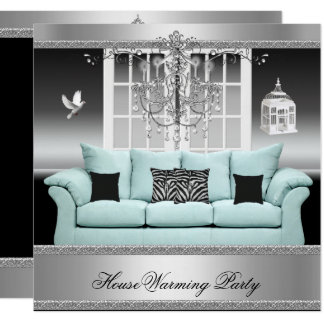 HouseWarming Party Chandelier Teal Silver White Card