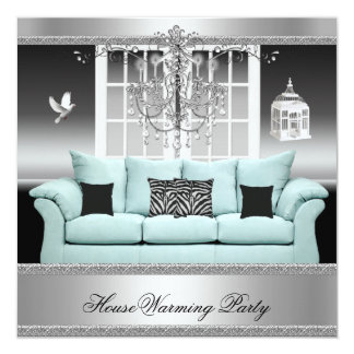 """HouseWarming Party Chandelier Teal Silver White 5.25"""" Square Invitation Card"""