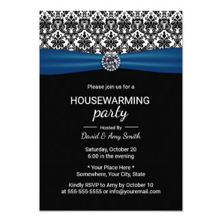 Housewarming Party Classic Blue Ribbon & Damask Card