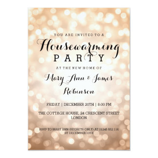Housewarming Party Copper Glitter Lights 5x7 Paper Invitation Card