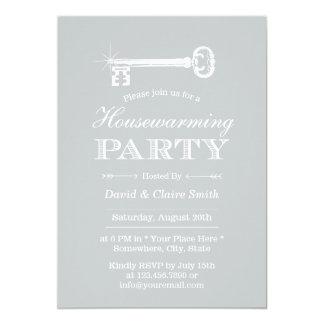 Housewarming Party Elegant Silver Skeleton Key Card