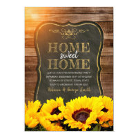 Housewarming Party Fall Sunflower Chalkboard Wood Invitation