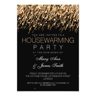 Housewarming Party Gold Falling Stars 5x7 Paper Invitation Card