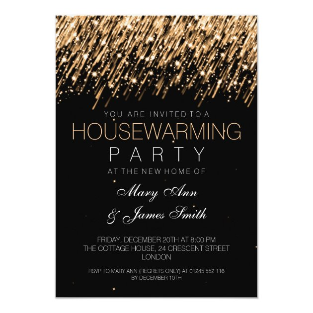 Latest bed back designs - Housewarming Party Gold Falling Stars Card Zazzle