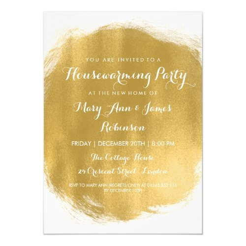 Housewarming Party Gold Paint Look Invitation