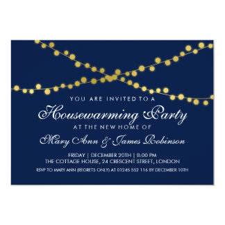 Housewarming Party Gold String Lights Navy Blue Card