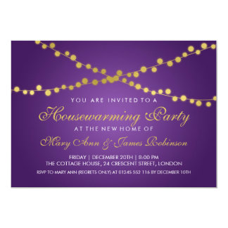 Housewarming Party Gold String Lights Purple Card