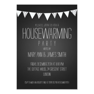 Housewarming Party Hearts Bunting Black 5x7 Paper Invitation Card