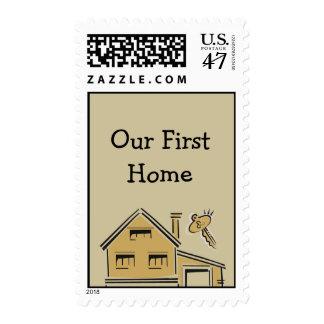 Housewarming Party House & Key Postage