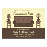 Housewarming Party Invitation - Brown Living Room