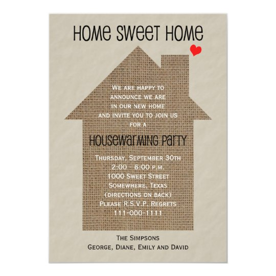housewarming party invitation burlap house. Black Bedroom Furniture Sets. Home Design Ideas