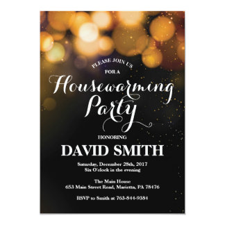 Housewarming Party Invitation Card Gold Glitter