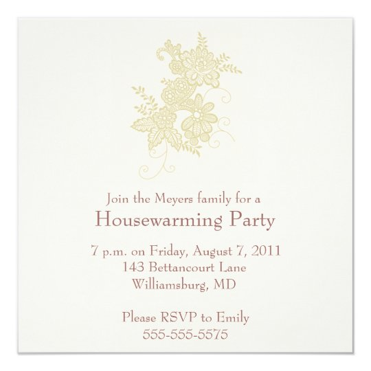 Housewarming Party Invitation - Gold Linen