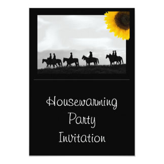 Housewarming Party Invitation sunflower & horses