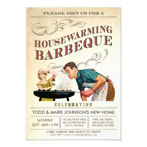 Housewarming Party Invitations BBQ Vintage