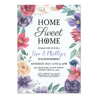 Housewarming Party Jewel Flowers Floral New Home Invitation
