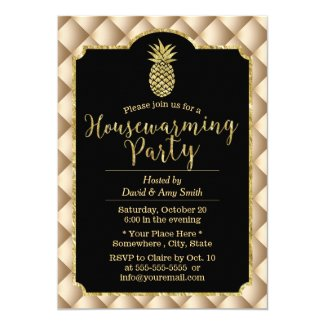 Housewarming Party Luxury Gold Pineapple Invitation
