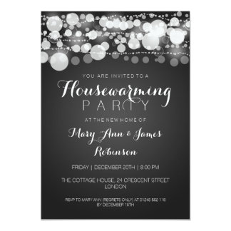 Housewarming Party Modern Dots Black 5x7 Paper Invitation Card