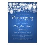 "Housewarming Party Modern Dots Blue 5"" X 7"" Invitation Card"