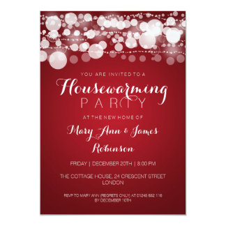 Housewarming Party Modern Dots Red 5x7 Paper Invitation Card